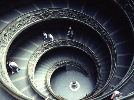 Image of circular stairs ascending up